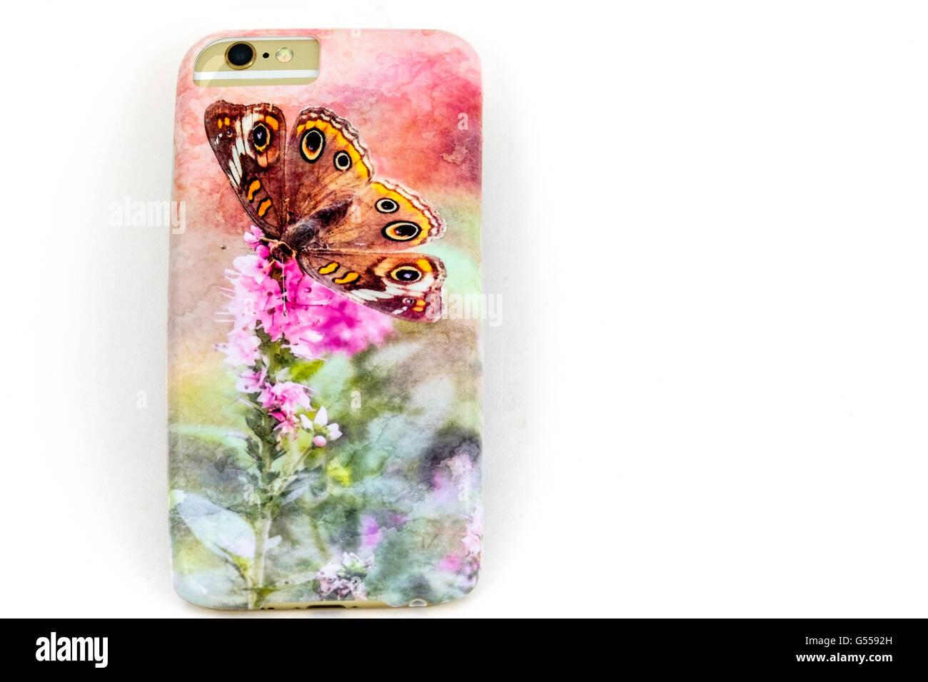 Un propietario diseñado artístico funda de teléfono personalizado para el iPhone 6s. Ee.Uu.. Recorte. Imagen De Stock