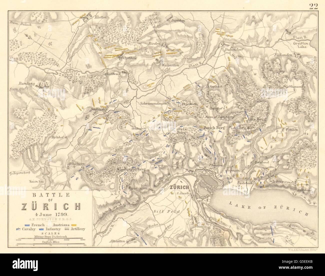 Batalla de Zürich/Zurich: 4º de junio de 1799. Guerras Napoleónicas, 1848 mapa antiguo Foto de stock