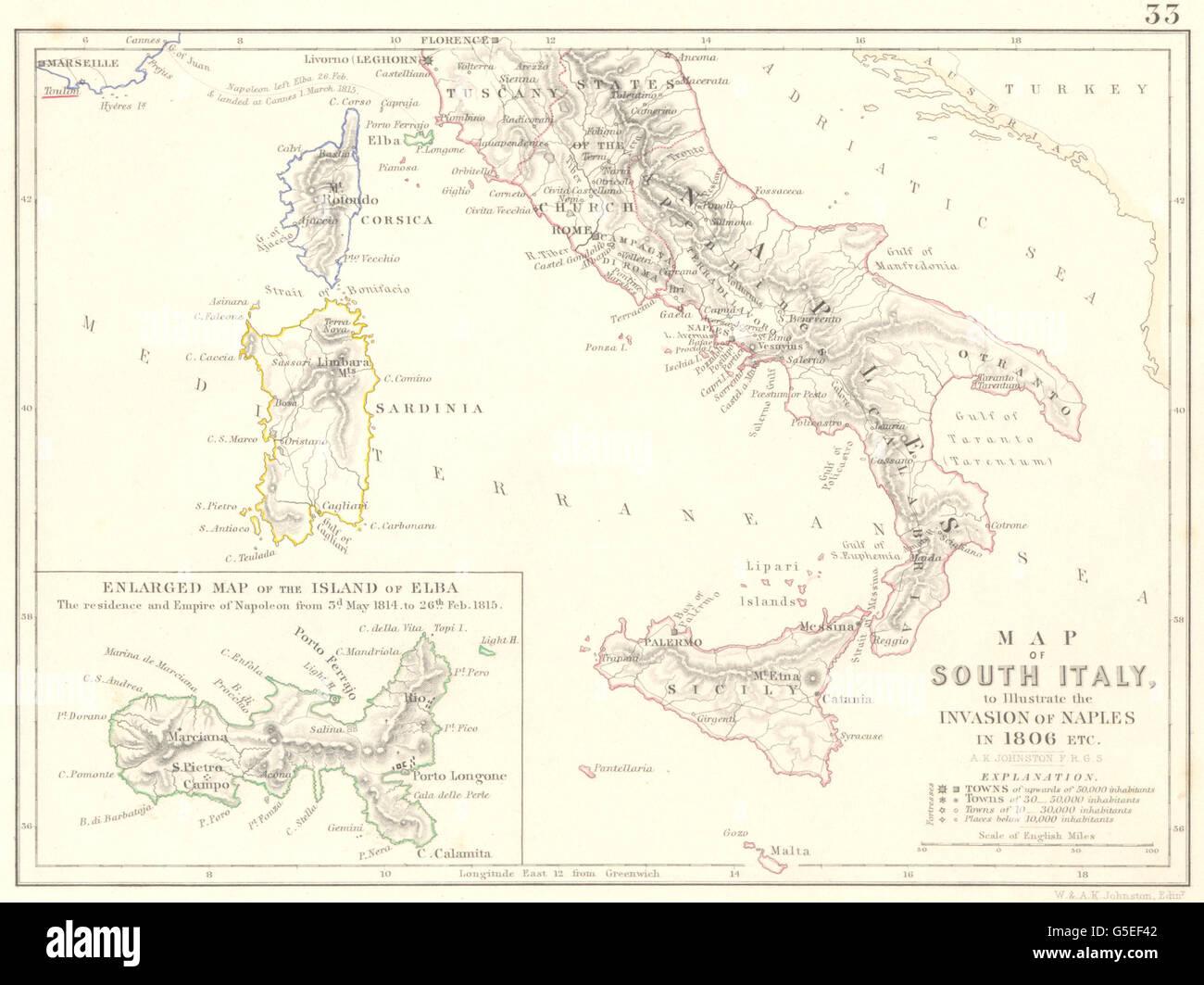 Invasión de Nápoles 1806: Guerras Napoleónicas. Elba. El sur de Italia, 1848 viejo mapa Foto de stock