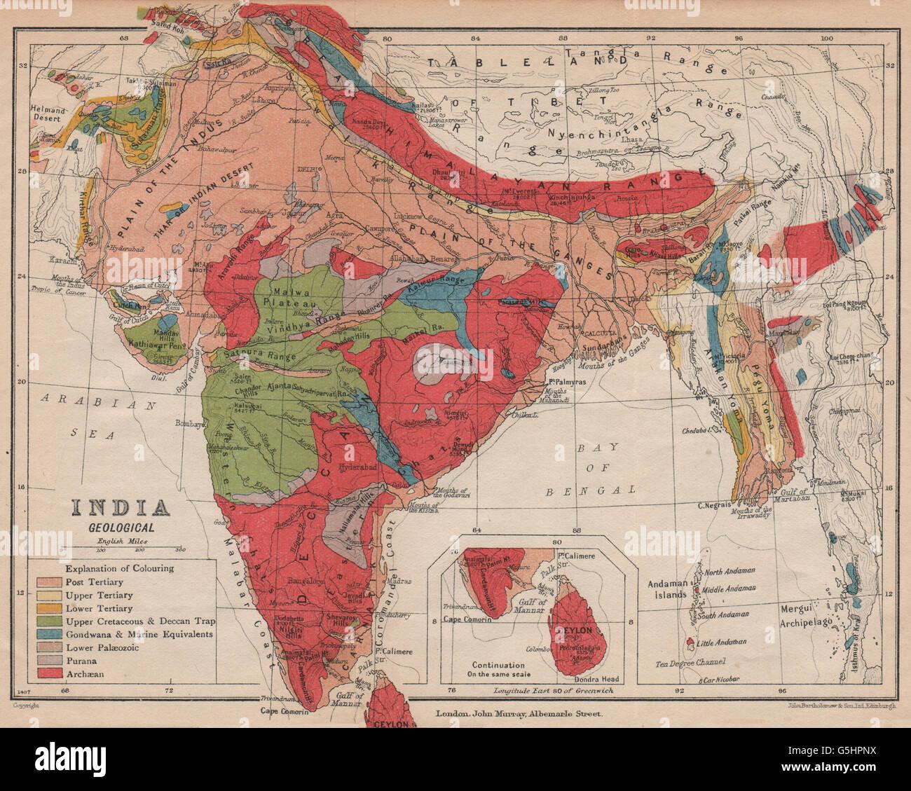 La India. Mapa geológico. Cretáceo terciario Archaean Purana Gondwana, 1929 Imagen De Stock