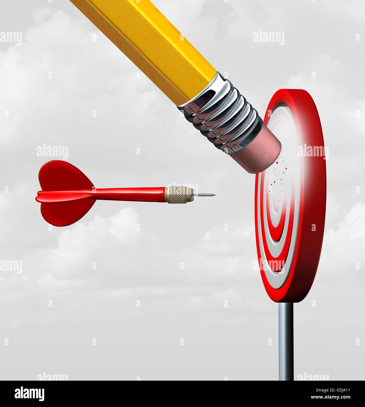 Pérdida del mercado empresarial y perder el foco con el cambio en la industria como un dardo rojo hacia una Imagen De Stock