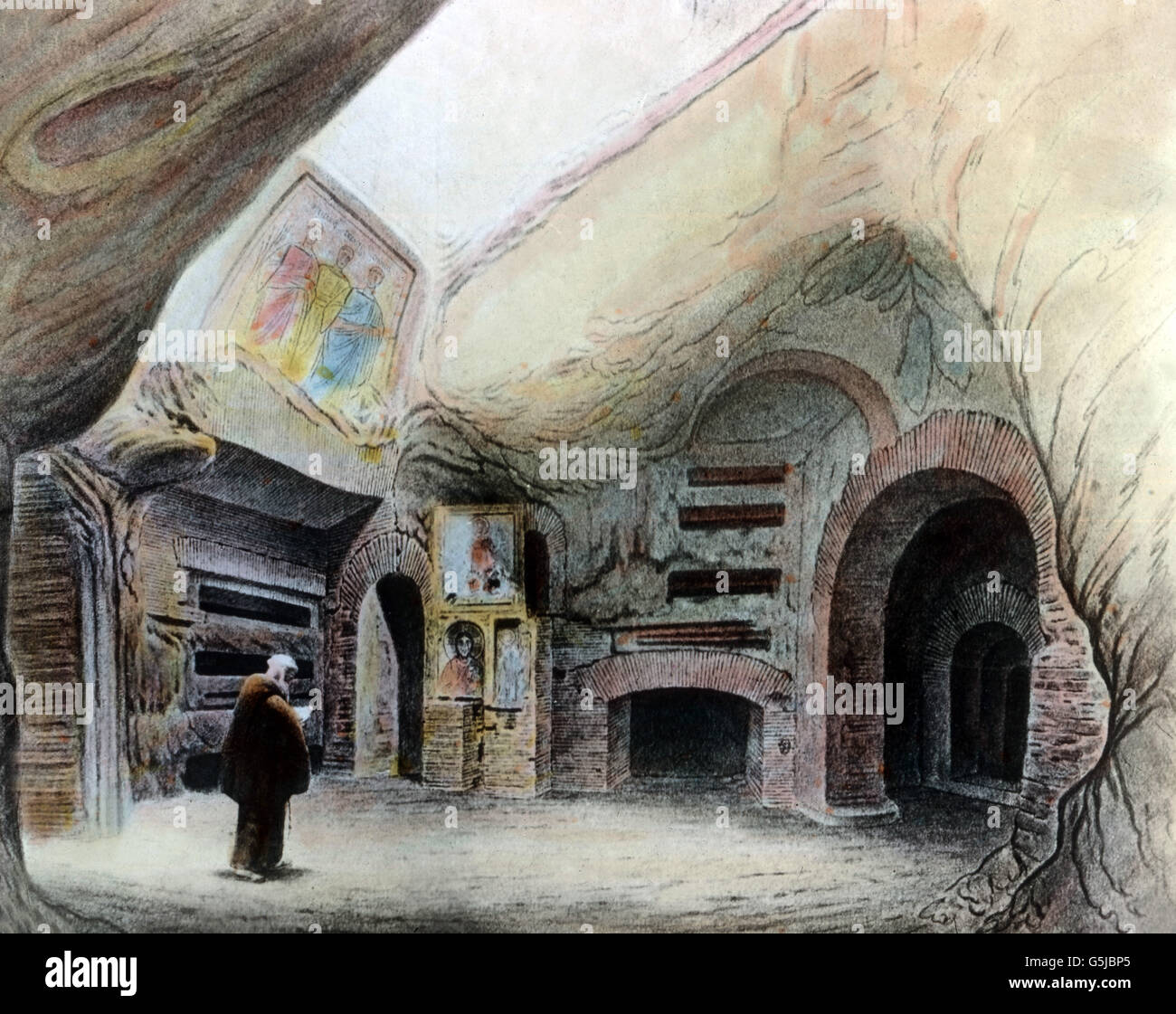 En der Katakombe der heiligen Caecilia en Rom, Italien 1920er Jahre. En la tumba de Santa Cecilia en Roma, Italia, 1920. Foto de stock