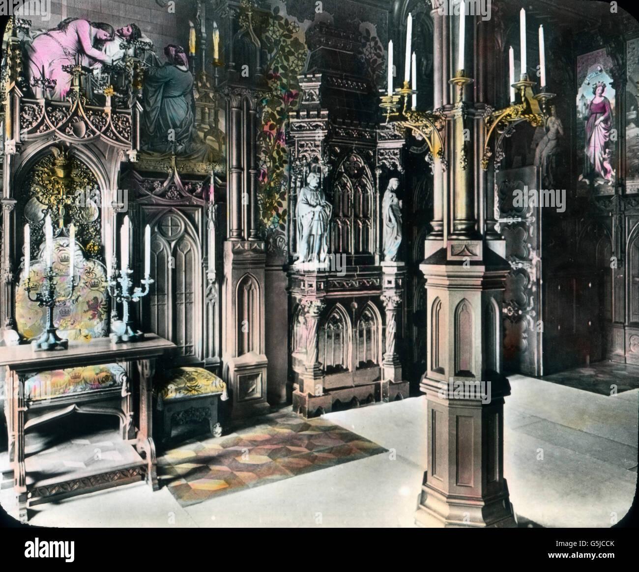 Schlafzimmer von König Ludwig II. auf Schloß Neuschwanstein en el