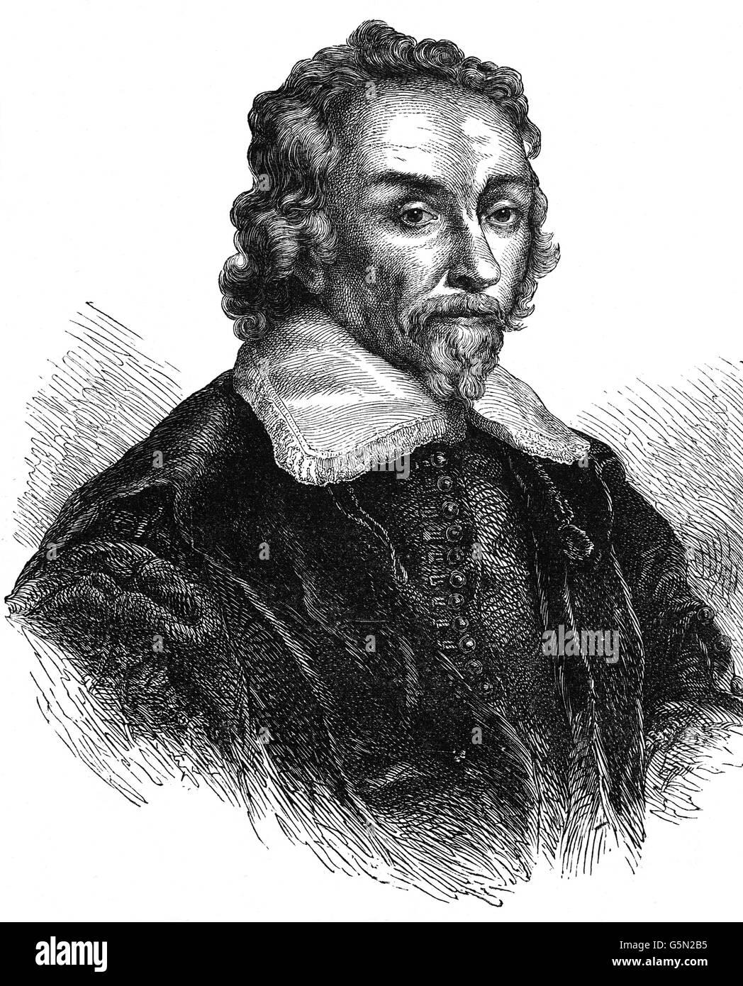 Sir William Harvey (1578 - 1657) fue un médico inglés que hizo aportes seminales en anatomía y fisiología. Imagen De Stock
