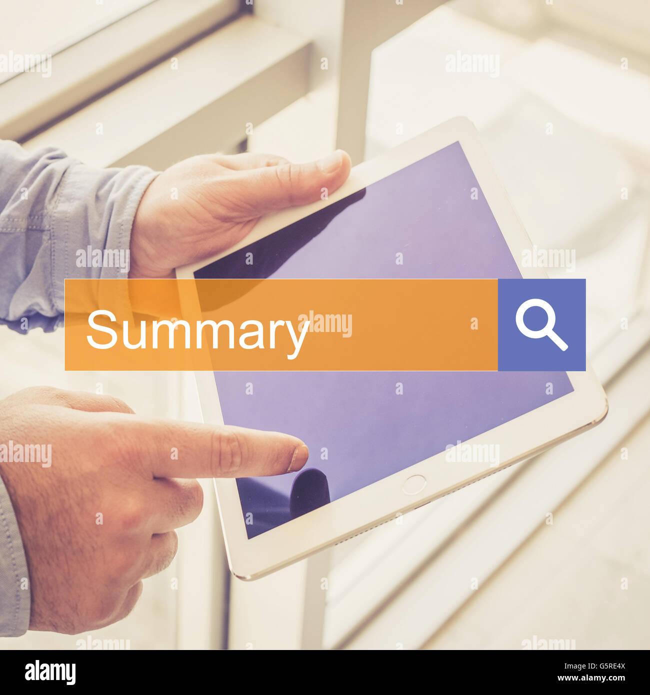 Tecnología de búsqueda Resumen COMUNICACIÓN TABLET ENCONTRAR CONCEPTO Imagen De Stock