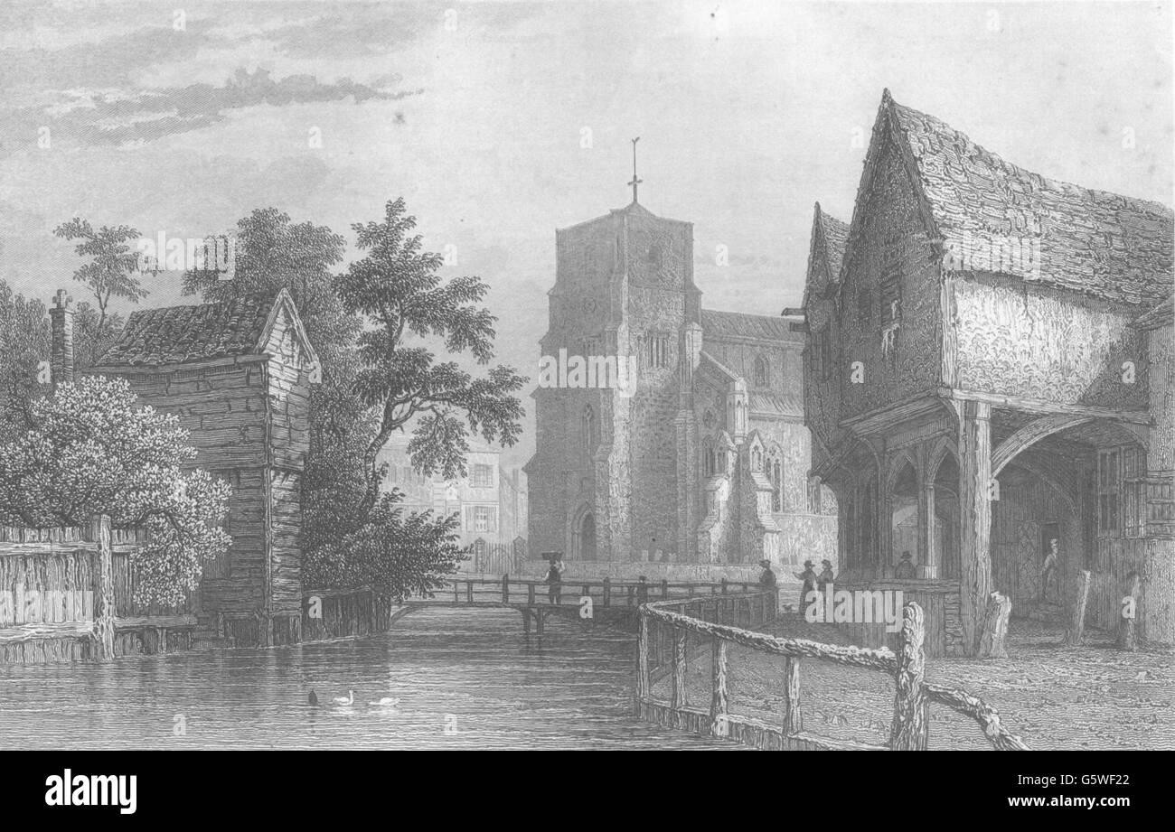 ESSEX: Waltham Abbey: (Bartlett), impresión de antigüedades 1840 Imagen De Stock