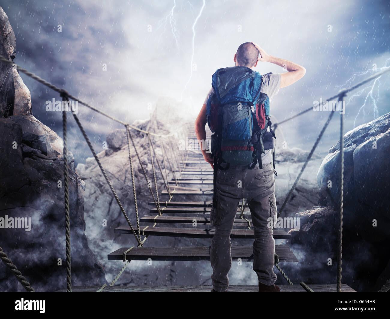 3D Rendering de explorer en puente inestable Imagen De Stock