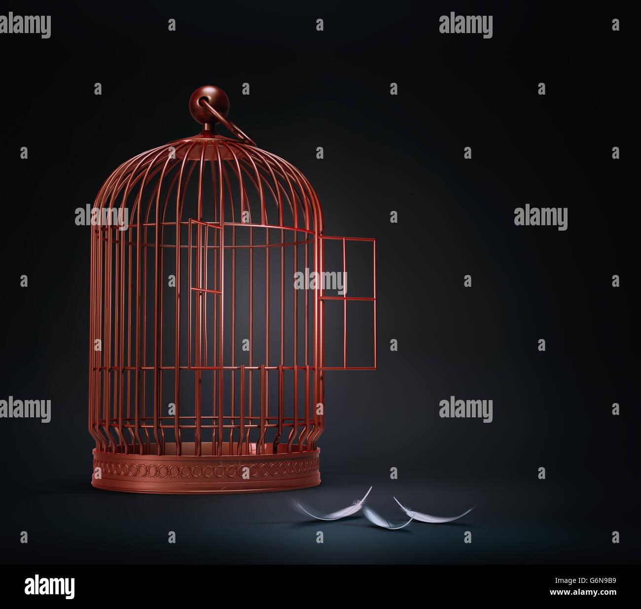 Bird Cage abierto con plumas - ilustración del concepto de libertad Imagen De Stock