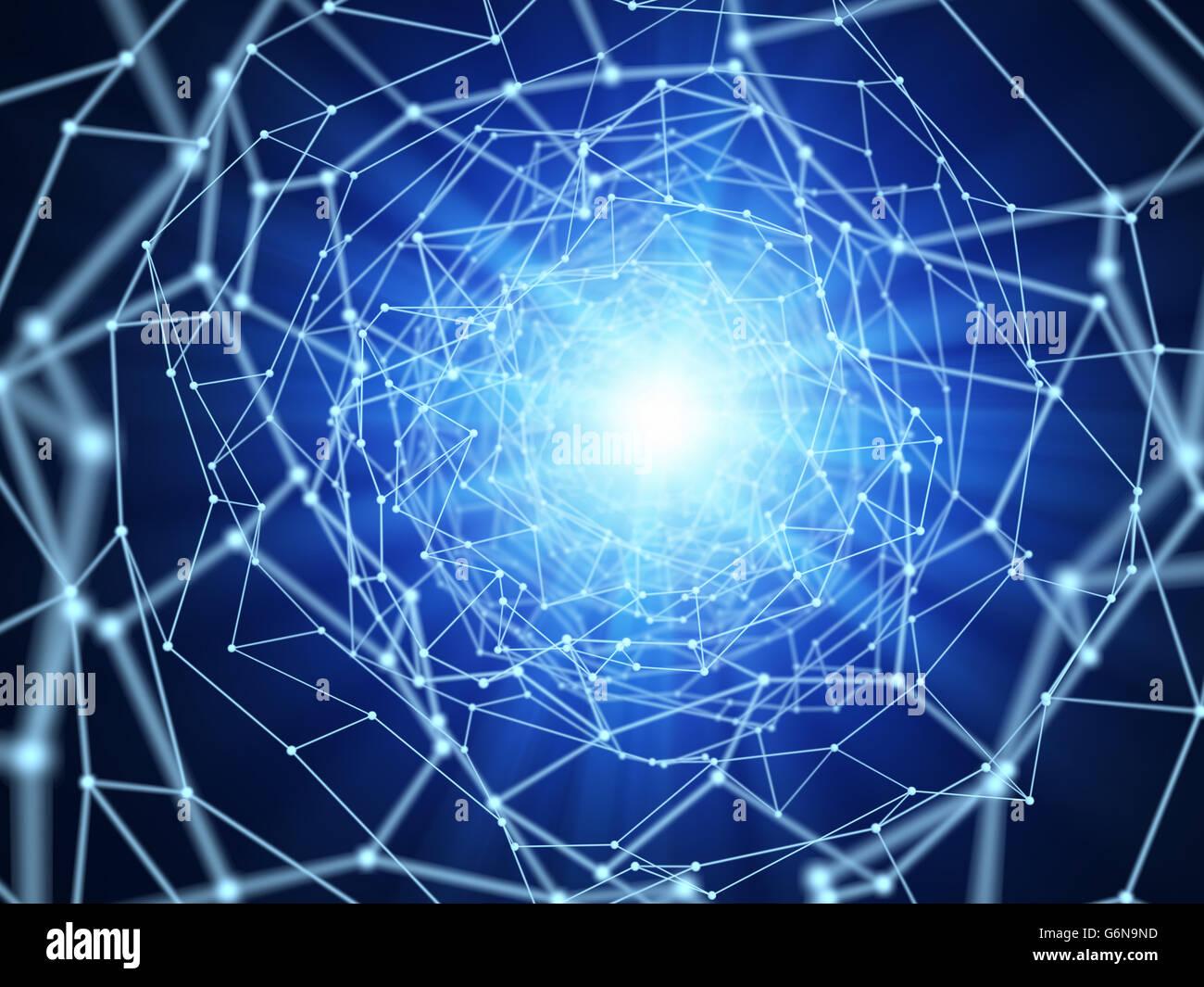 Conexiones de red abstracto - Ilustración 3d Imagen De Stock