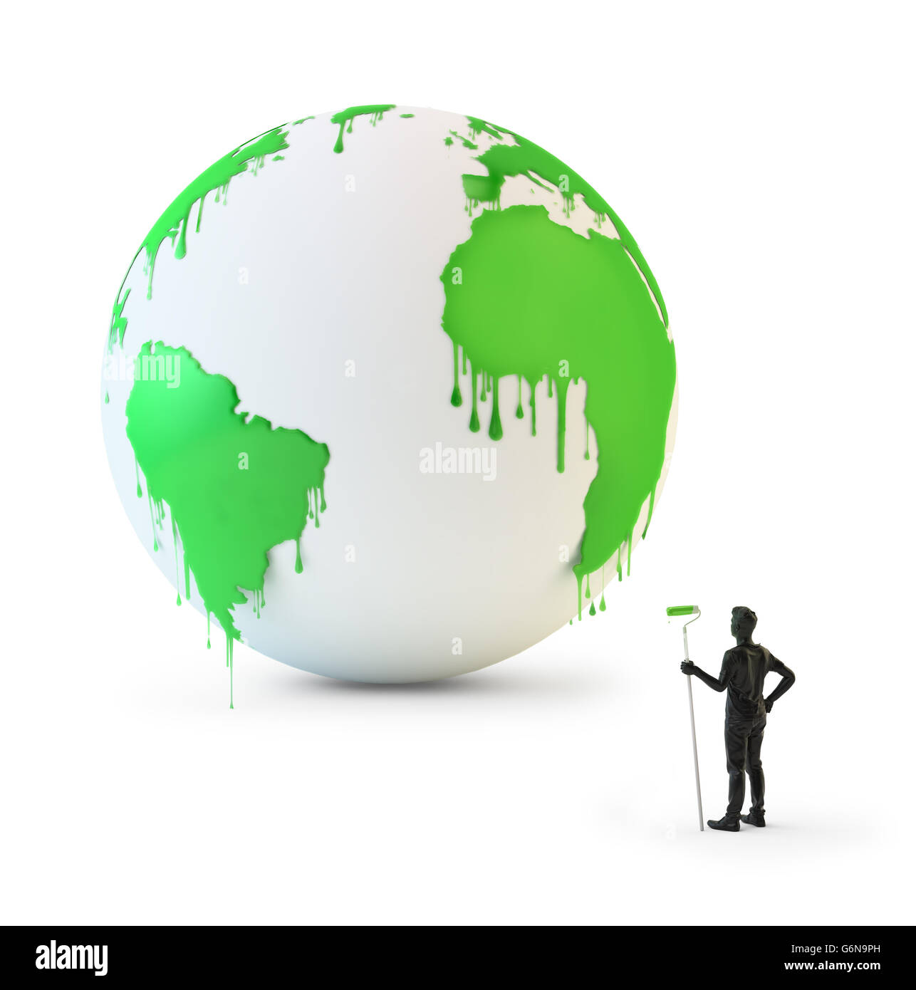 Pintura mojada chorreando desde un globo - Concepto de protección ambiental ilustración 3D Imagen De Stock