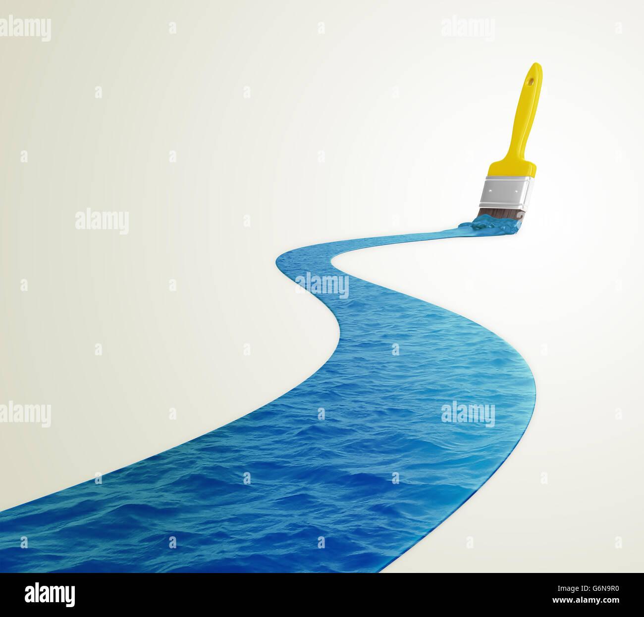 El agua pintada con un pincel - Ilustración 3D Imagen De Stock