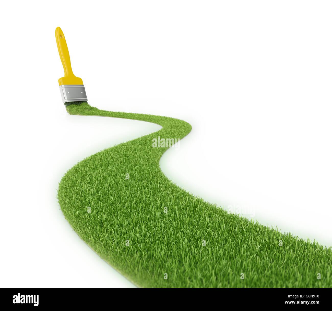 Ruta de hierba con un trazo de un pincel - Ilustración 3D Imagen De Stock