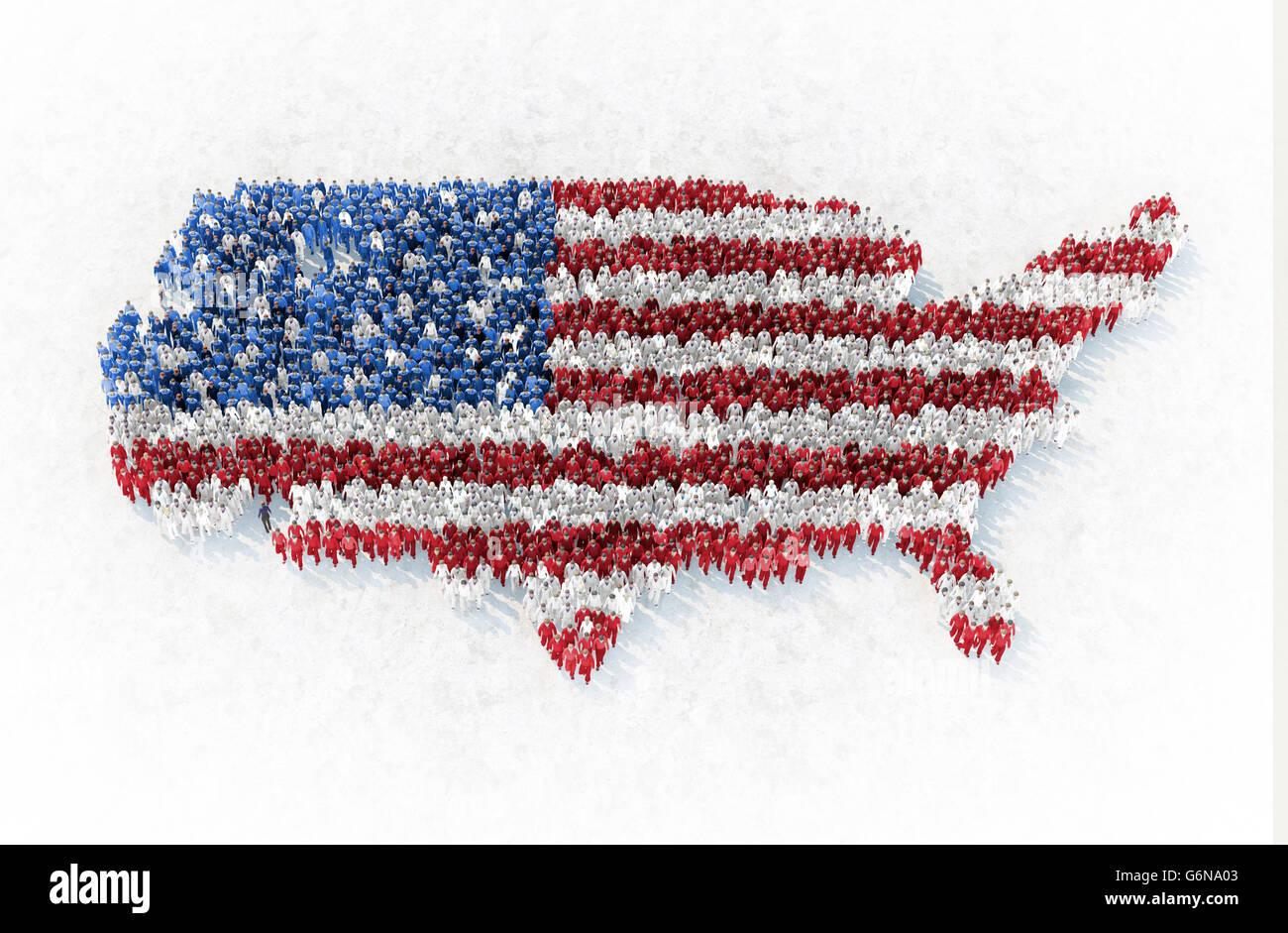 El esquema de nosotros formado por gente vestida de rojo, azul y blanco - Ilustración 3D Imagen De Stock