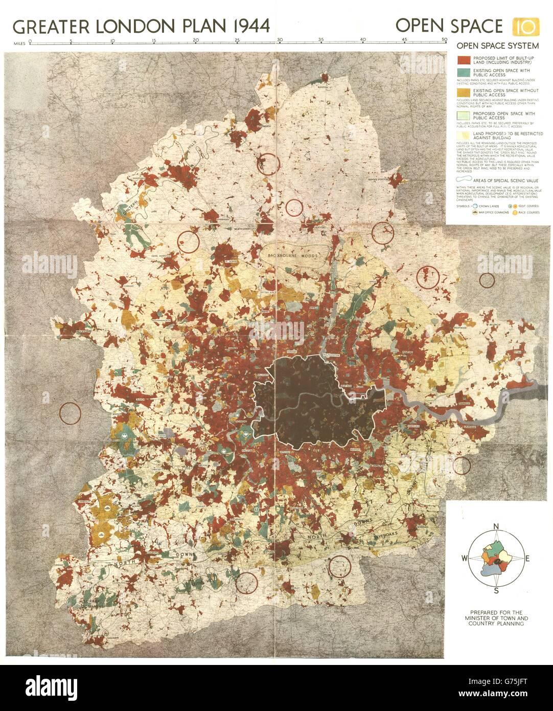 El Greater London PLAN. Sistema de espacio abierto. Cinturón Verde.  Parques. ABERCROMBIE 318891054ac0