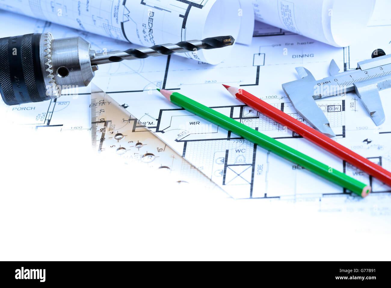 Proyectos arquitectónicos del nuevo hogar con espacio para un mensaje de copia Imagen De Stock