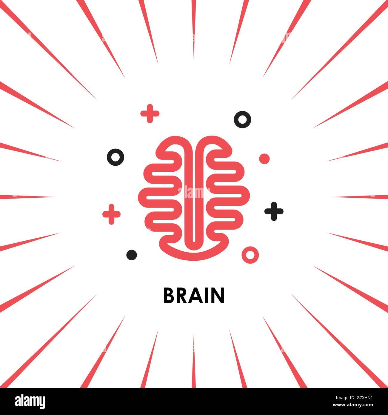 Vista superior de la silueta del logotipo Brain diseño plantilla ...