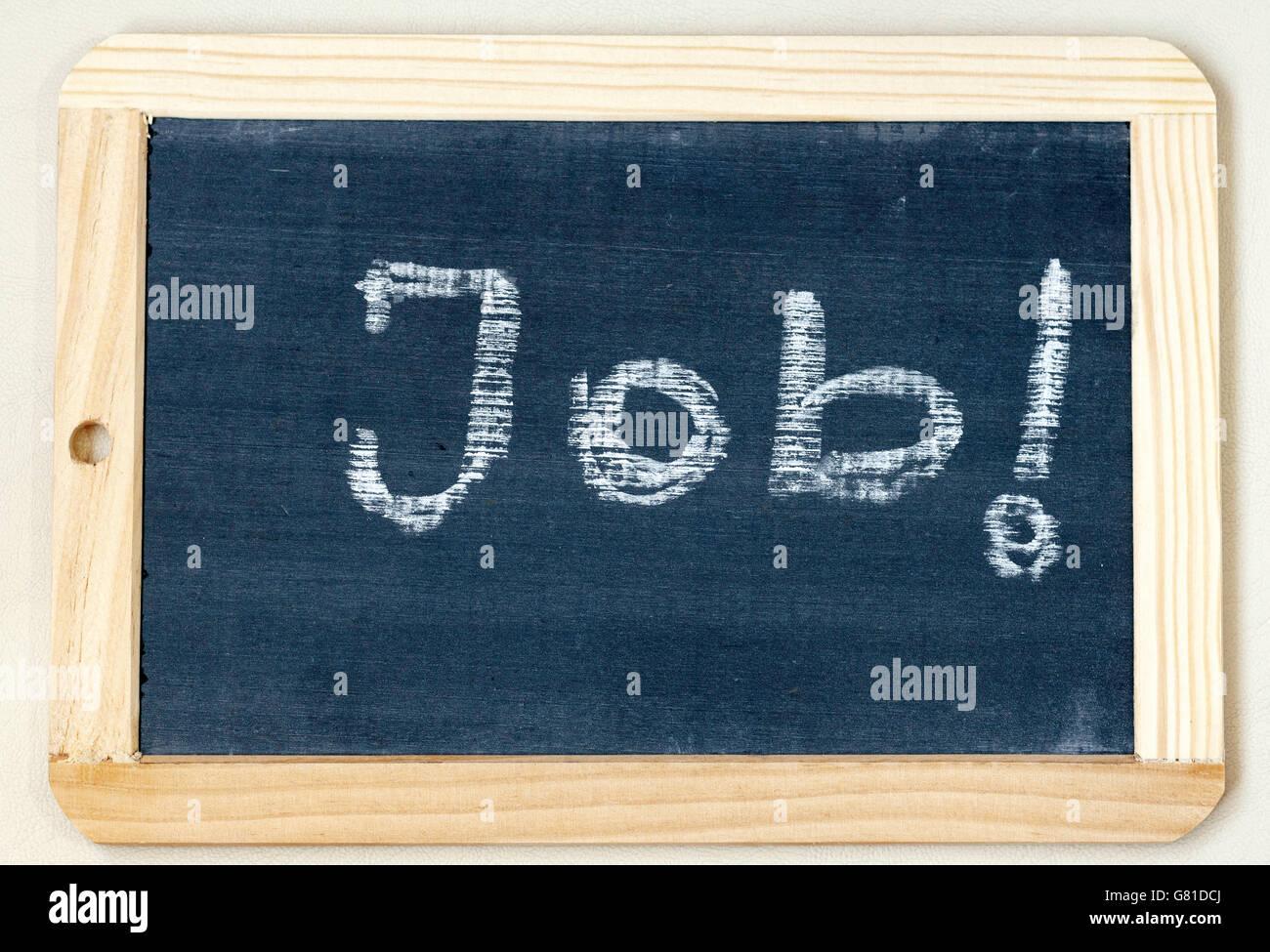 Trabajo palabra escrita en una pizarra enmarcadas en madera con ...