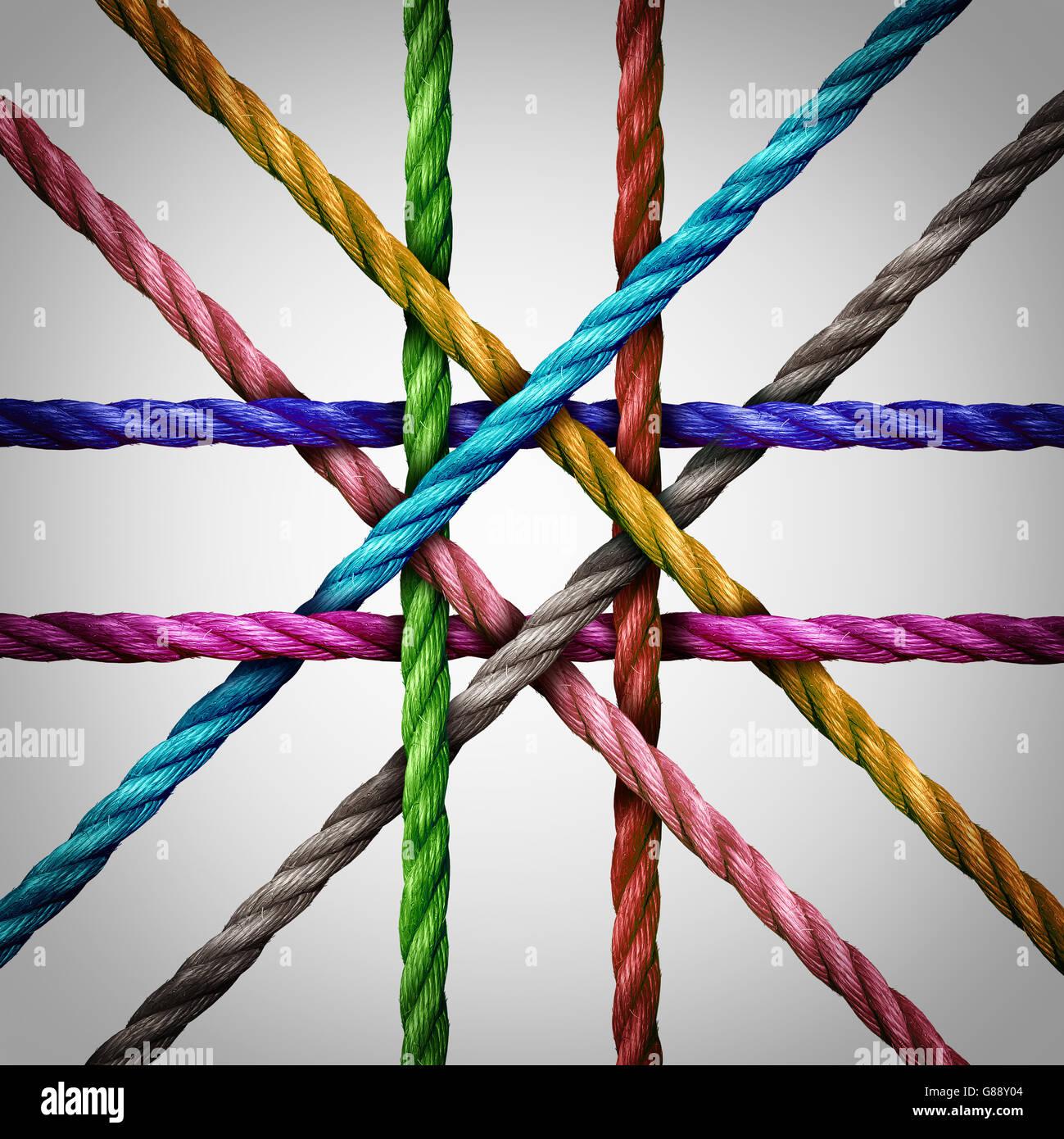 Conecta redes centralizadas y conexión de red central el concepto empresarial como un grupo diverso de cuerdas Imagen De Stock