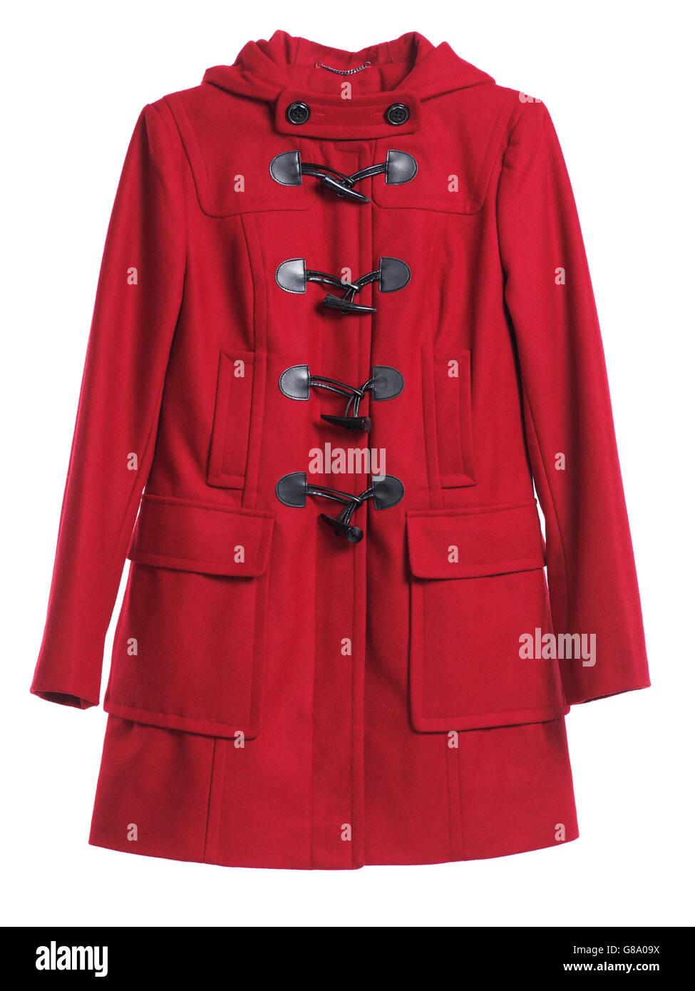 Red lady's coat, duffle coat Imagen De Stock