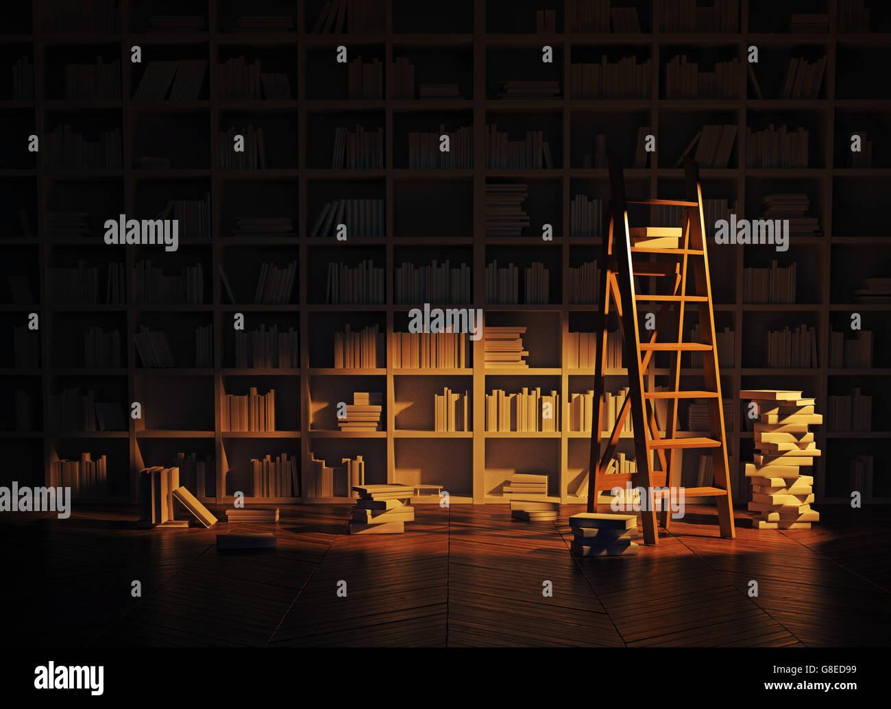 Iluminación de noche en el interior de la biblioteca. 3D rendering Imagen De Stock