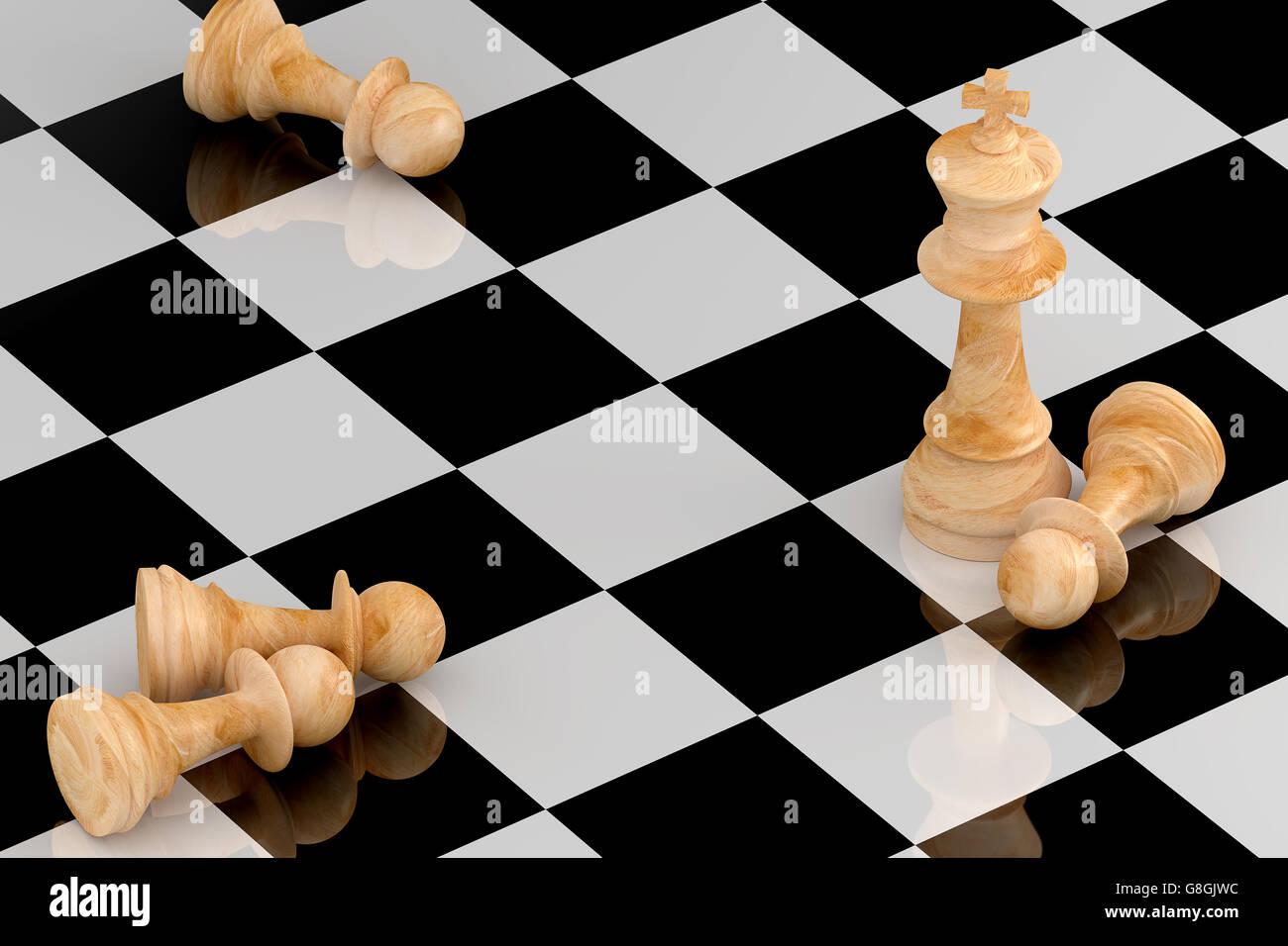 Concepto de negocio logro ilustrado por el ajedrez en 3D rendering. Imagen De Stock