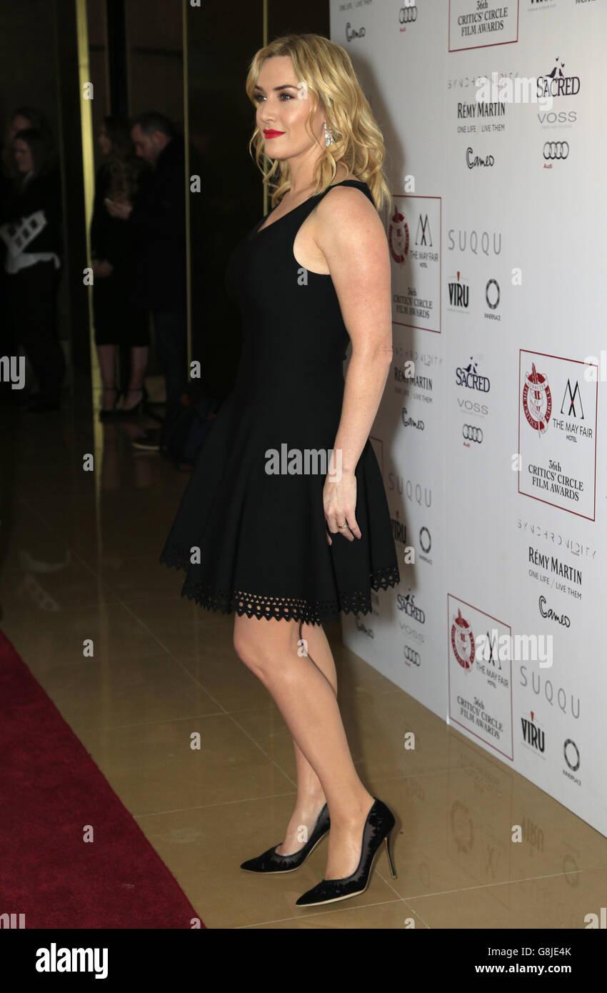Kate Winslet asiste a los premios Circle Film Awards de la crítica de Londres en el May Fair Hotel, en el centro de Londres. ASOCIACIÓN DE PRENSA Foto. Fecha del cuadro: Domingo 17 de enero de 2016. Ver la historia de PA SHOWBIZ Critics. El crédito de la foto debe decir: Jonathan Brady/PA Wire. Foto de stock