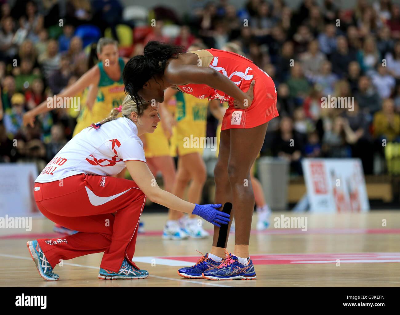 Inglaterra vs Australia - Serie de baloncesto internacional - tercer partido - Cuadro de cobre Imagen De Stock