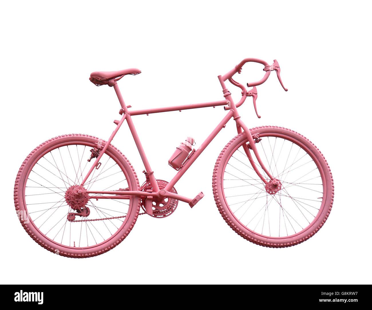 Moto deportiva todos rosa sobre fondo blanco. Imagen De Stock