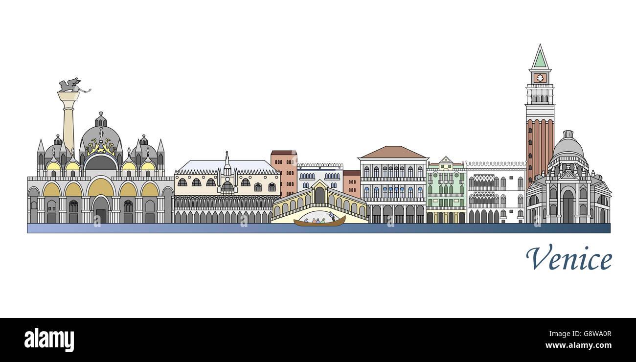 39fb63d38 Venecia color skyline en archivo vectorial editable Foto   Imagen De ...