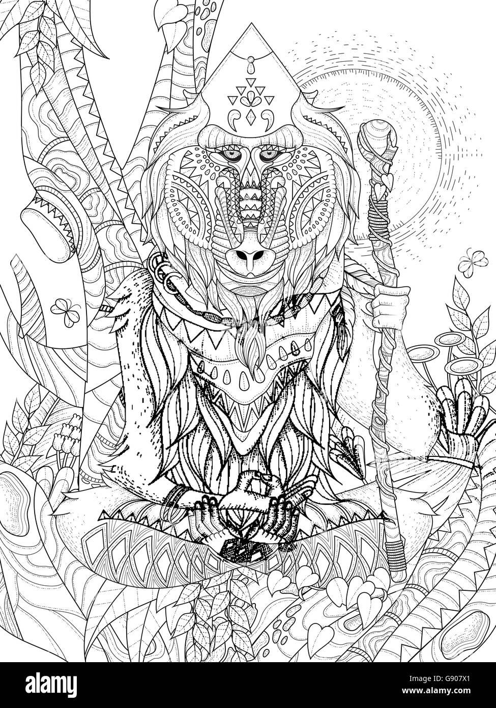 Sabiduría elder baboon patas cruzadas en el árbol - adulto página ...