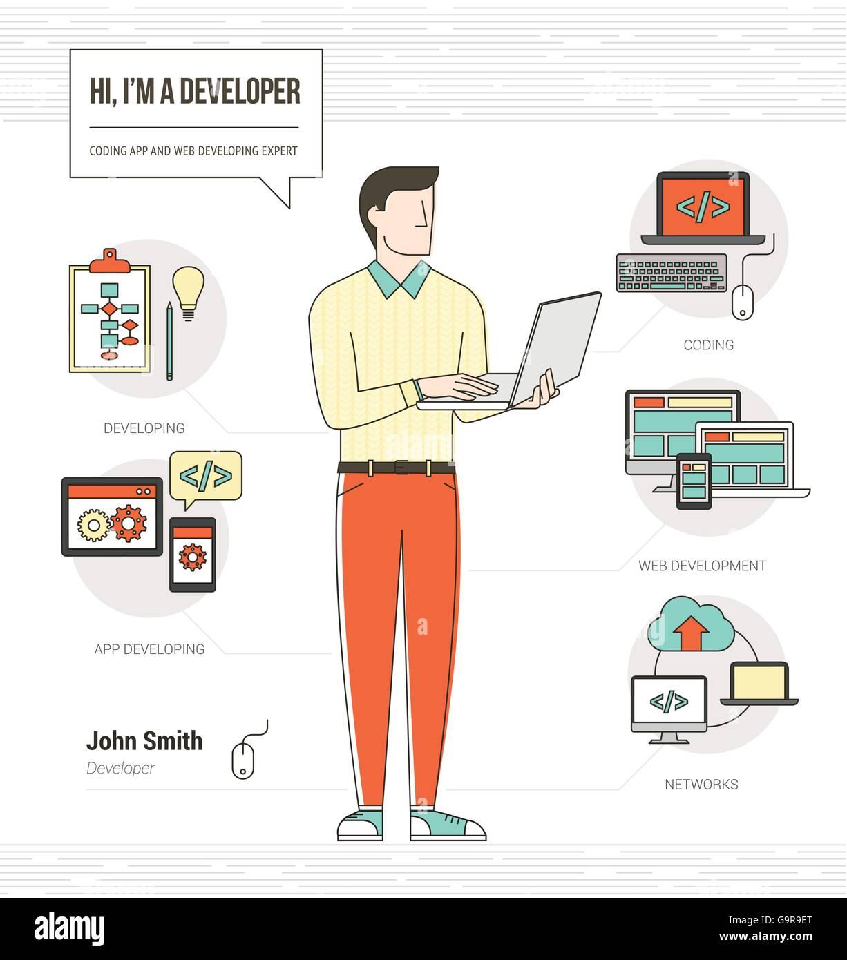 Desarrollador profesional y programador infográfico habilidades ...