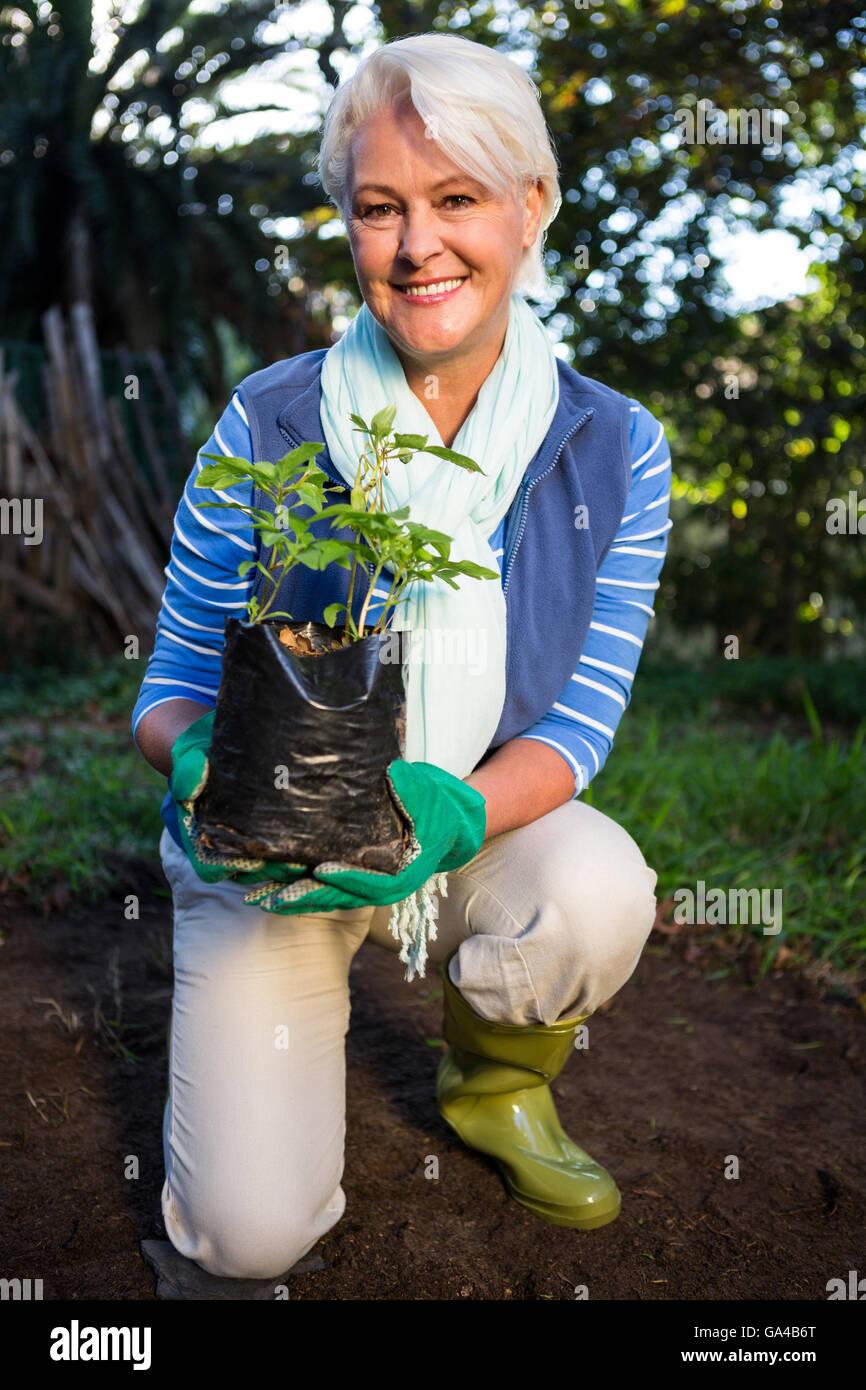 Retrato de mujer feliz jardinero arrodillado con planta en maceta en el jardín Imagen De Stock
