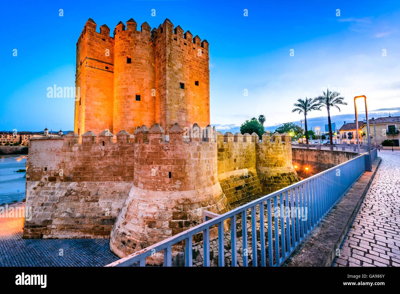 Córdoba, Andalucía, España. Puente romano sobre el río Guadalquivir, Torre de la Calahorra. Imagen De Stock