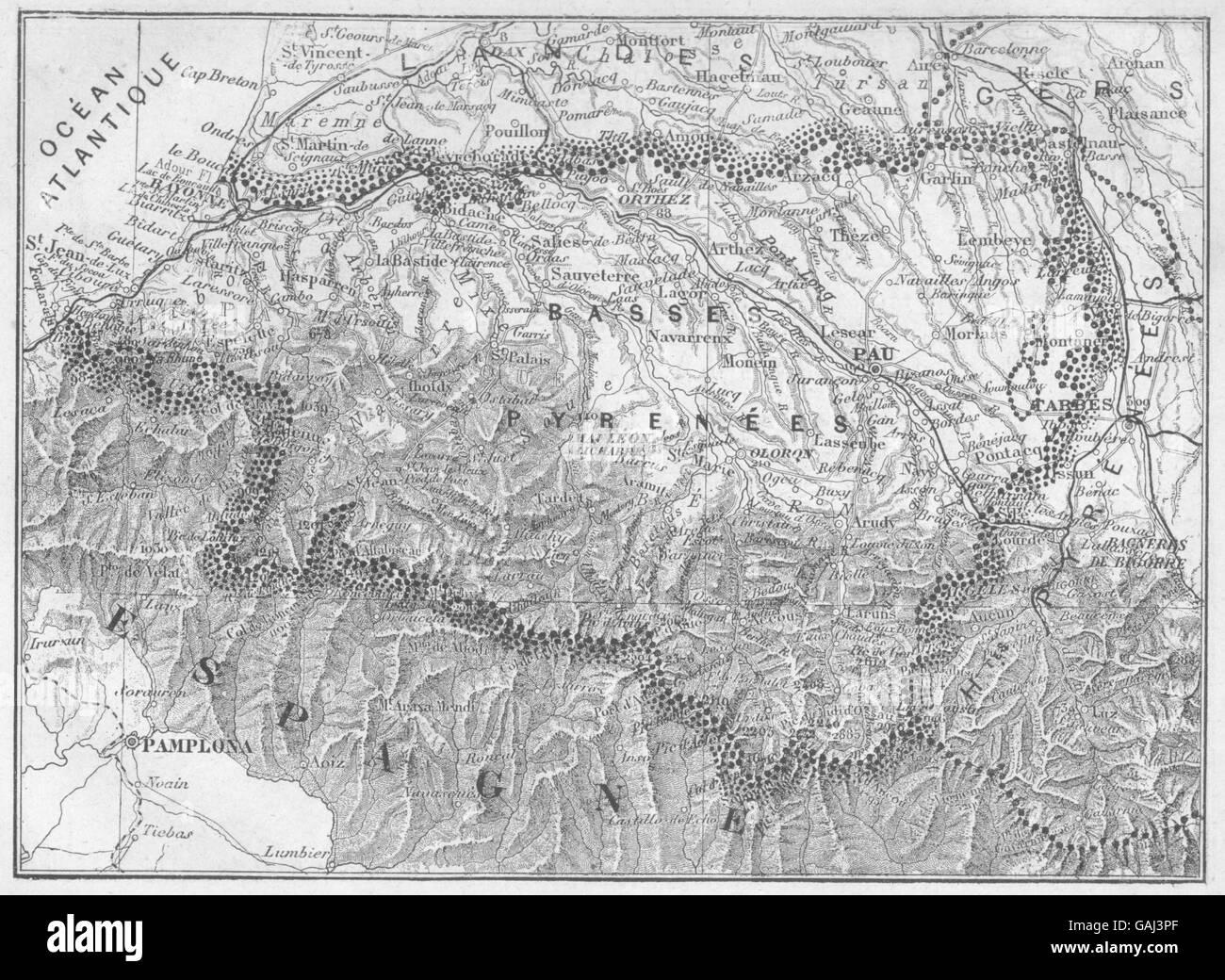 PYRÉNÉES-ATLANTIQUESCACHED SIMILAR: Pirineos(Basses-), 1878 mapa antiguo Imagen De Stock