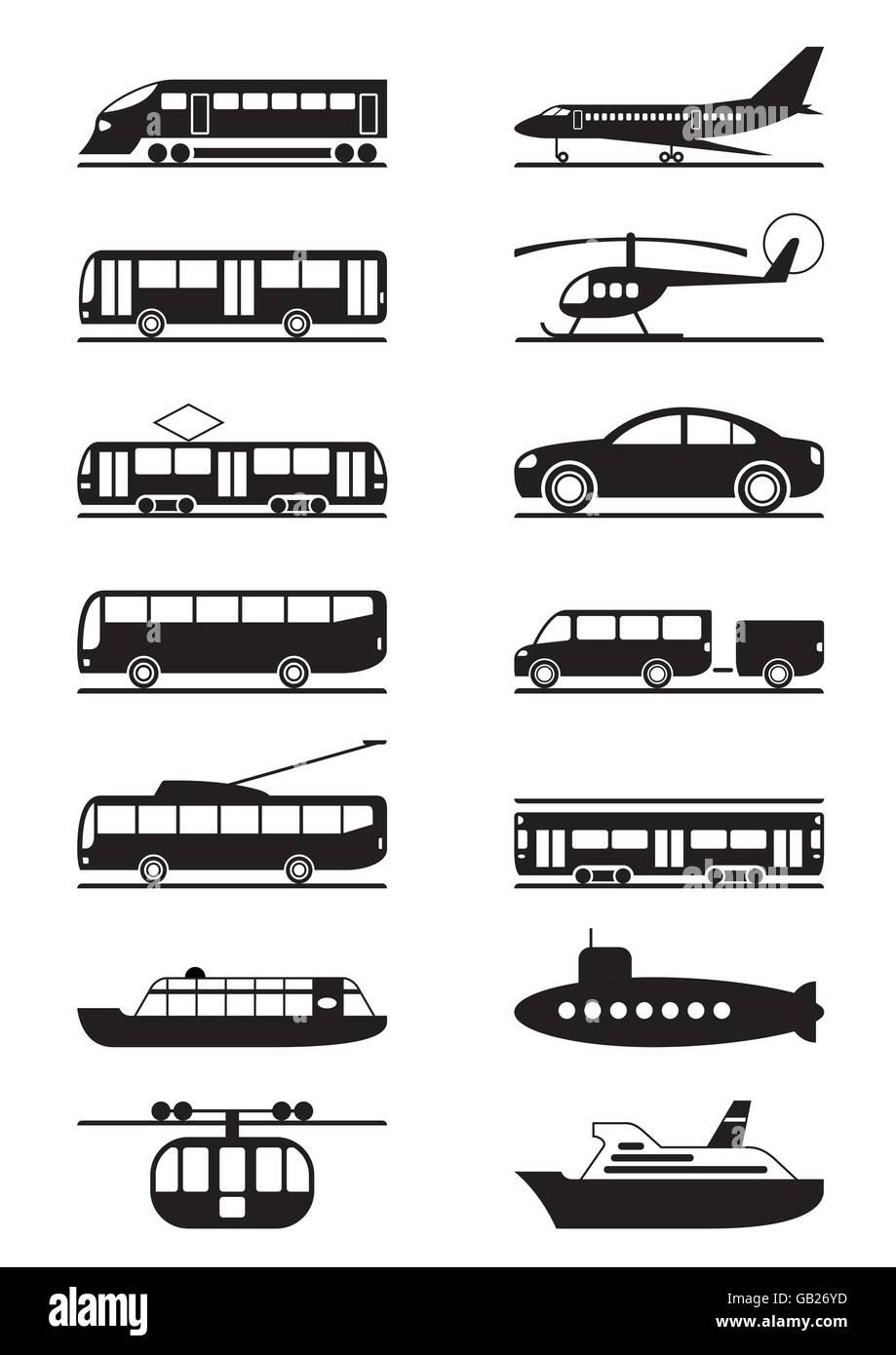 Y el transporte público de pasajeros - ilustración vectorial Imagen De Stock