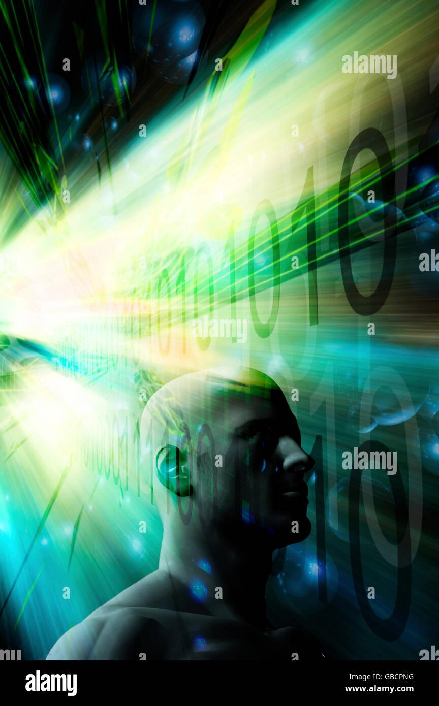 Tecnología de fondo y cabeza humana Imagen De Stock