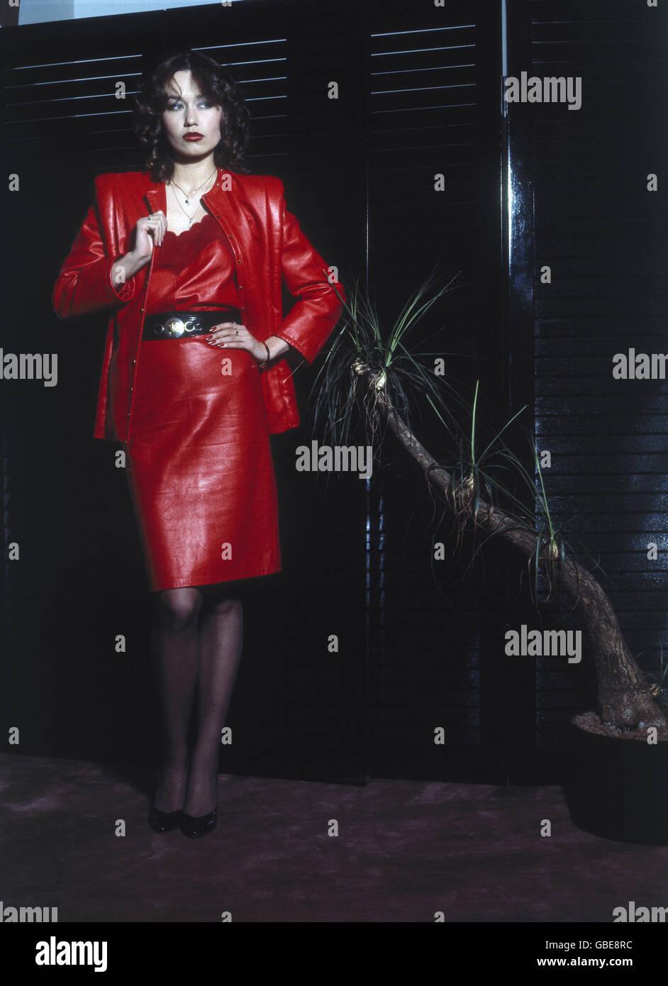 Mujer Rojo Moda Joven Vestido Y Longitud En Chaqueta 1980 v1RRgnqZ