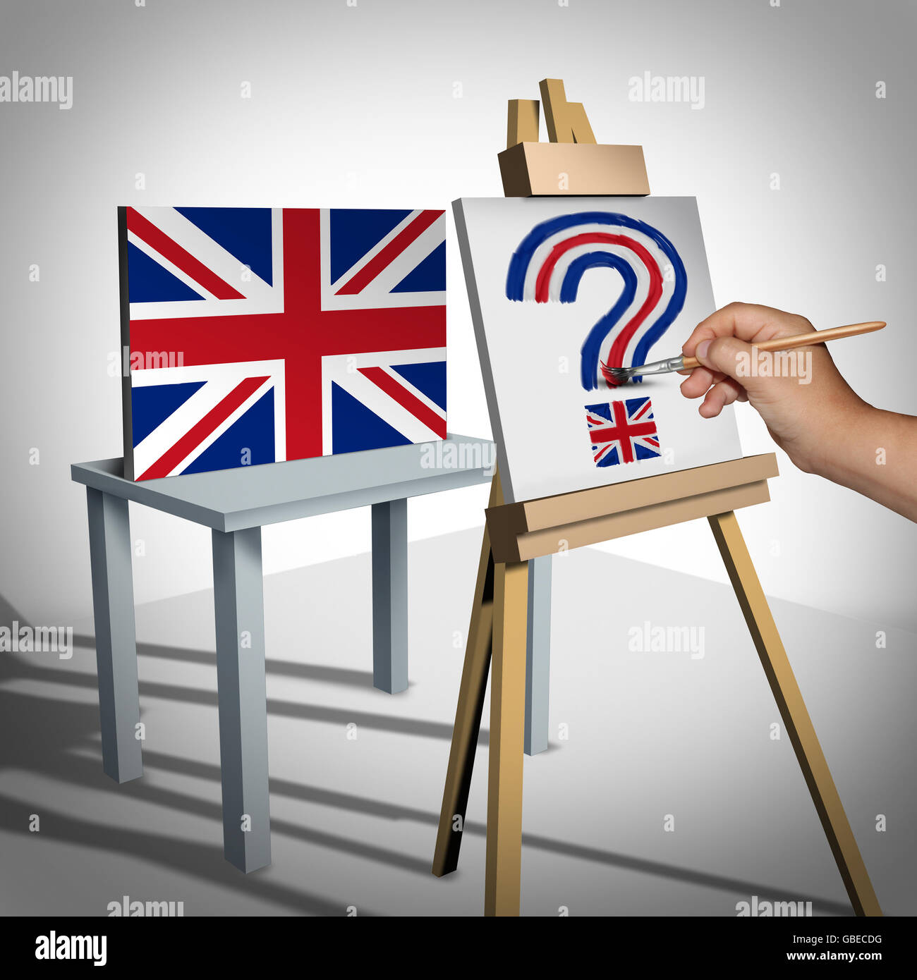 Bretaña o incertidumbre británica como un concepto que representa el Reino Unido brexit votar a abandonar Imagen De Stock