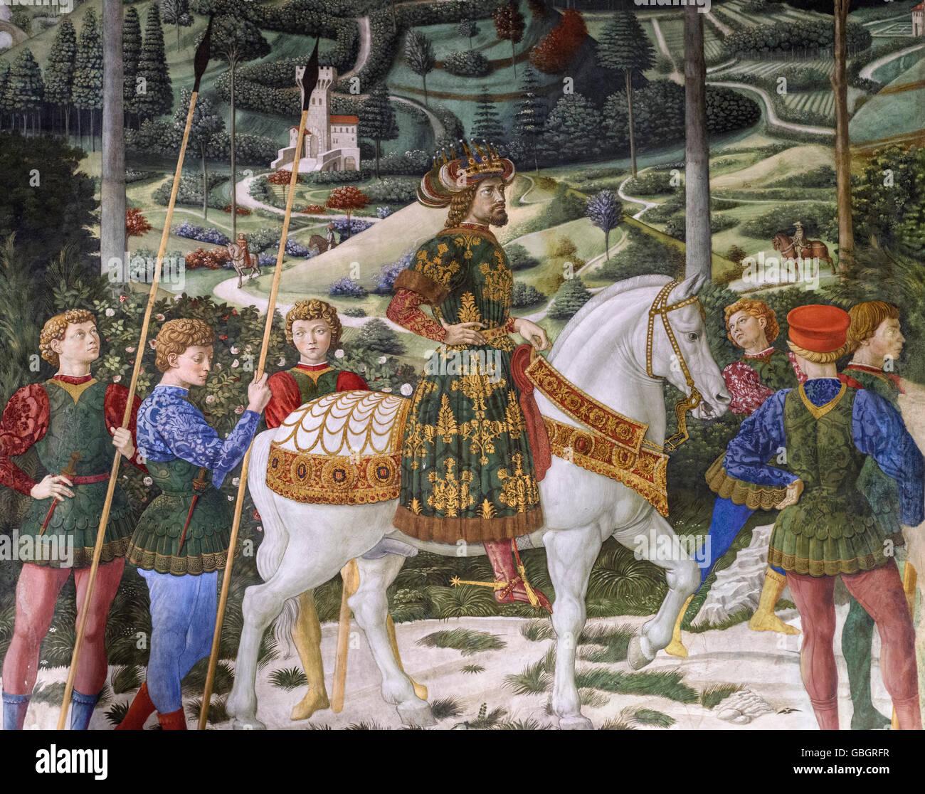 """Resultado de imagen de DETALLE DE """"CABALGATA DE LOS REYES MAGOS"""" por BENOZZO GOZZOLI ca. 1460."""