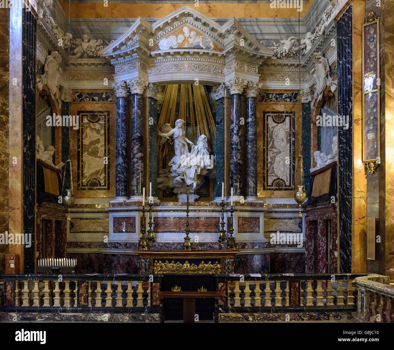 Roma Italia La Escultura De Bernini De El Extasis De Santa Teresa
