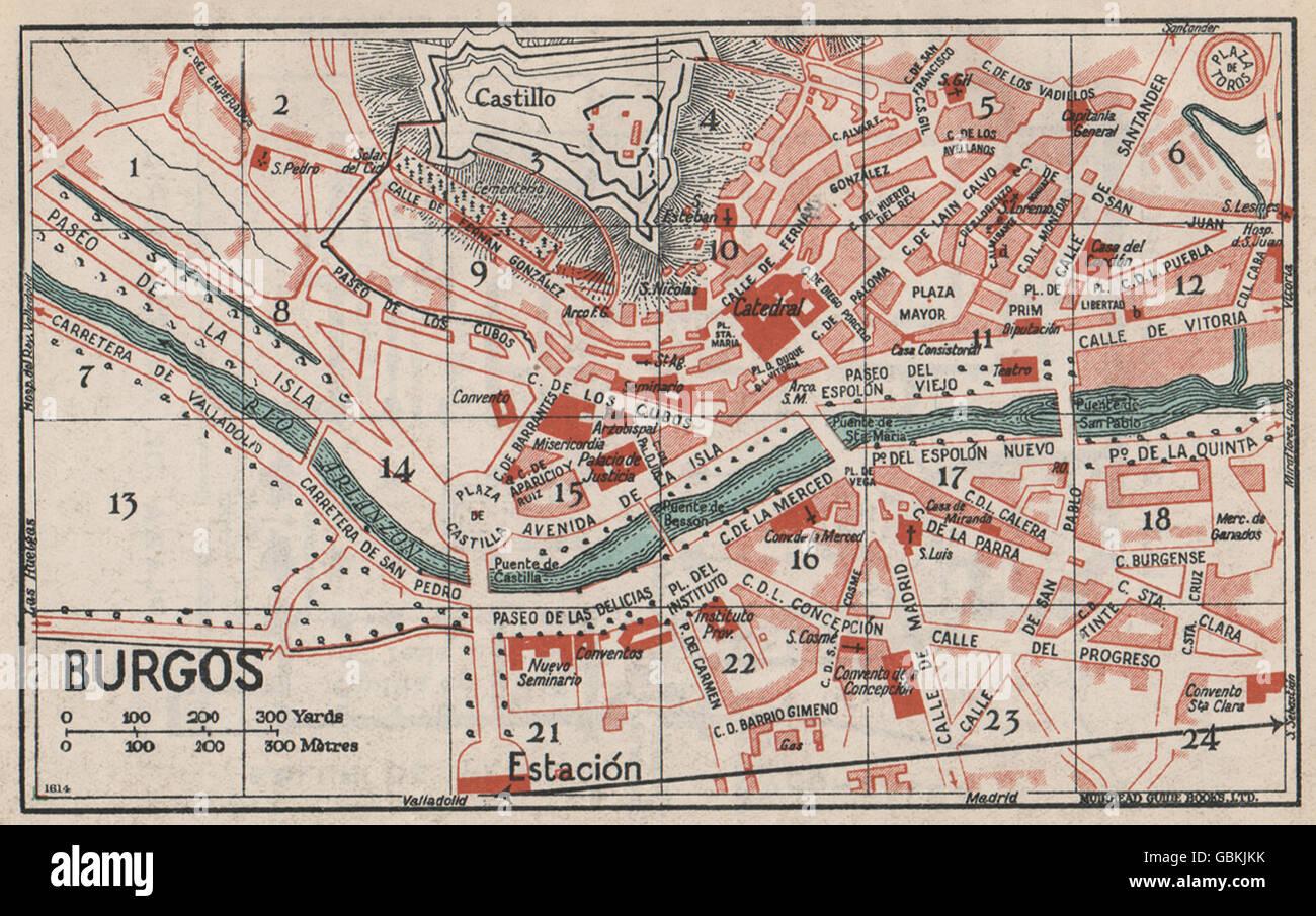 Mapa De Burgos Ciudad.Burgos Mapa De Ciudad Vintage Plan Espana 1930 Foto