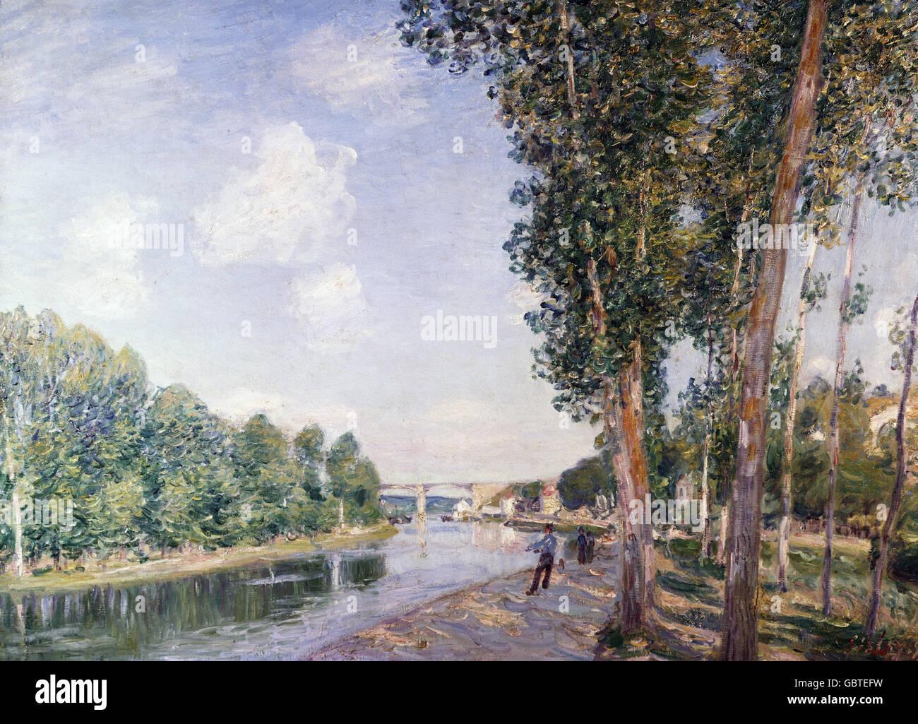 Bellas artes, Sisley, Alfred (1839 - 1899), pintura, 'Le tournant du Loing', 1892, óleo sobre lienzo, 65 x 92 cm, Museo de arte moderno, Barcelona, España Foto de stock