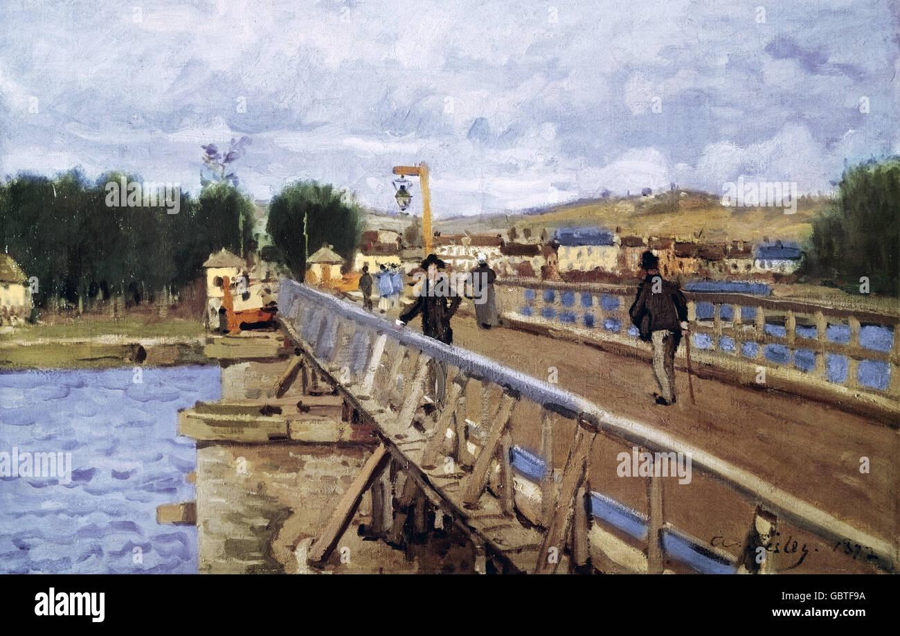 Bellas artes, Sisley, Alfred (1839 - 1899), pintura, 'La Passerelle d'Argentueil', 1872 Jeu de Peume, París Foto de stock