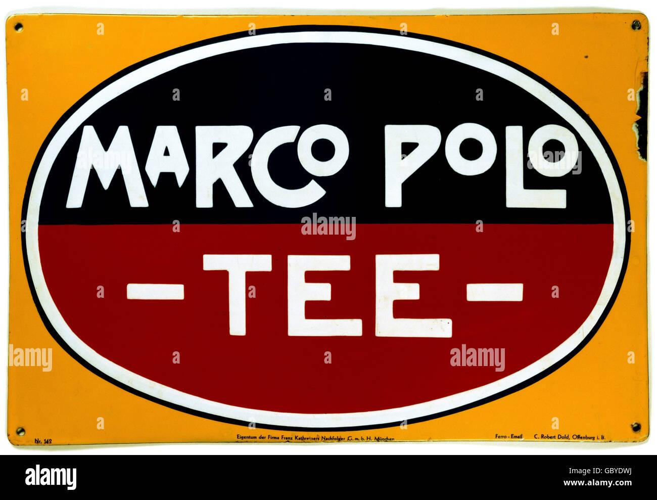 publicidad, bebidas, té, Marco Polo Tea, placa esmaltada, Alemania, alrededor de 1925, Derechos adicionales-Clearences-no disponible Foto de stock