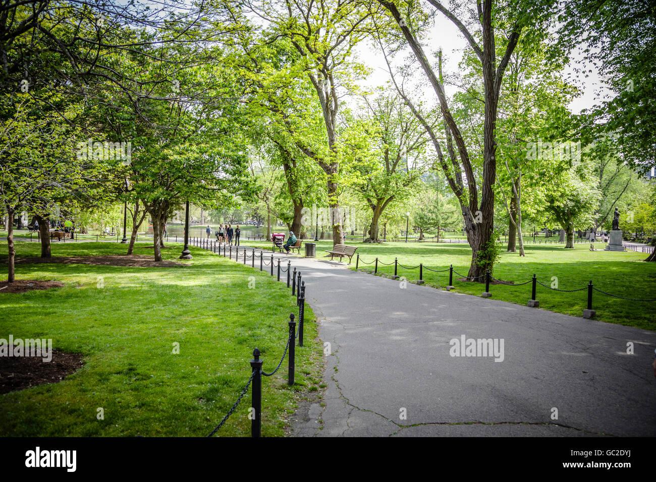 Boston Common en Massachusetts. Imagen De Stock