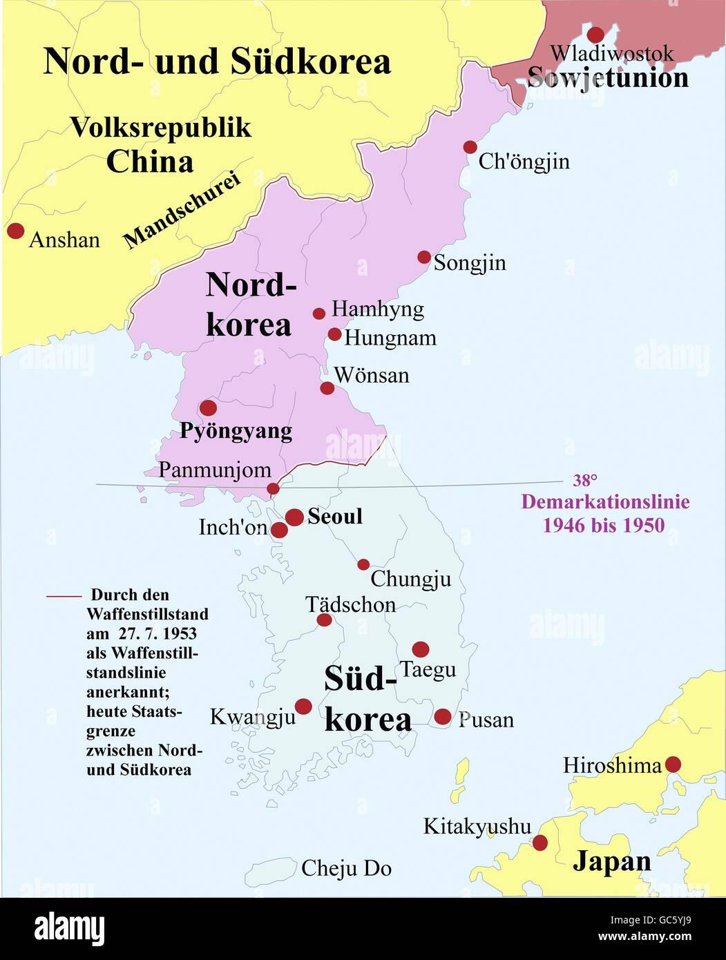 Carthography, mapas históricos, los tiempos modernos, Corea, división de 1953, el norte, el sur, la línea Imagen De Stock