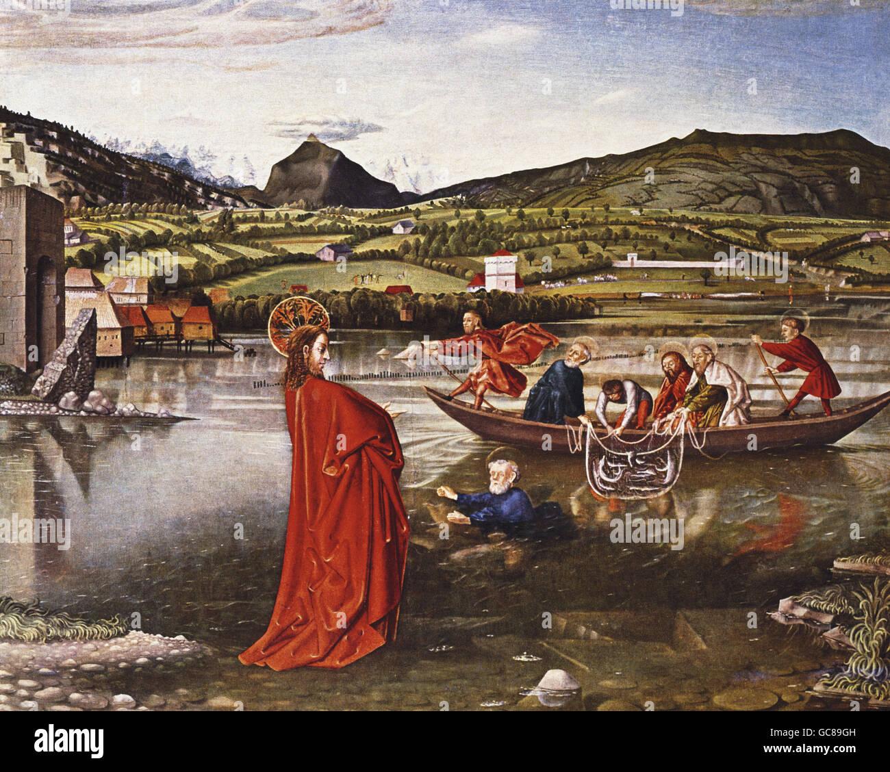 Bellas artes, Witz, Konrad (1400 - 1446), pintura, 'El milagroso Proyecto de Pescado', 'Saint Peter Altar', el panel central, Alemania, 1444, Musée d'Art et d'Histoire, Ginebra, Foto de stock