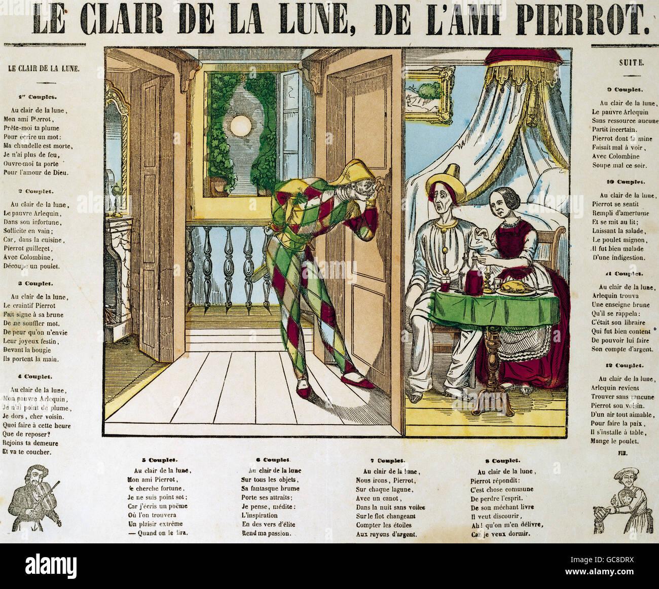Teatro Cifras Arlequín Pierrot Y Columbine Le Clair De