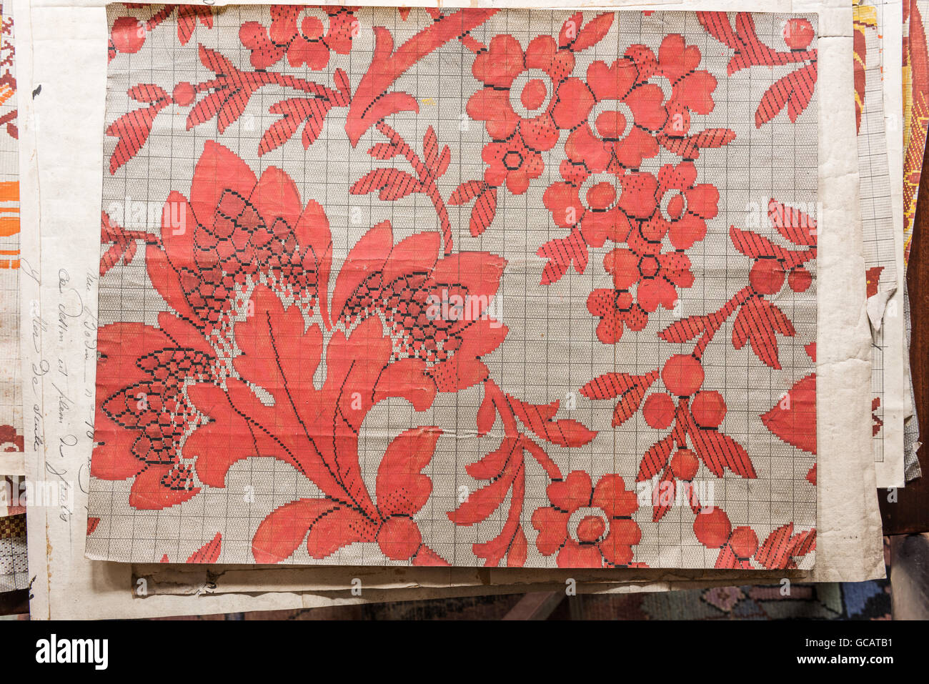 Patrones de terciopelo de seda de Rouen desde 1850 Imagen De Stock