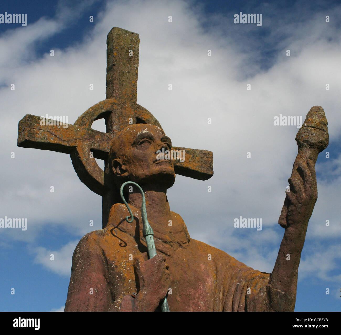 Estatua de San Aidan Apóstol de Northumbria Foto de stock